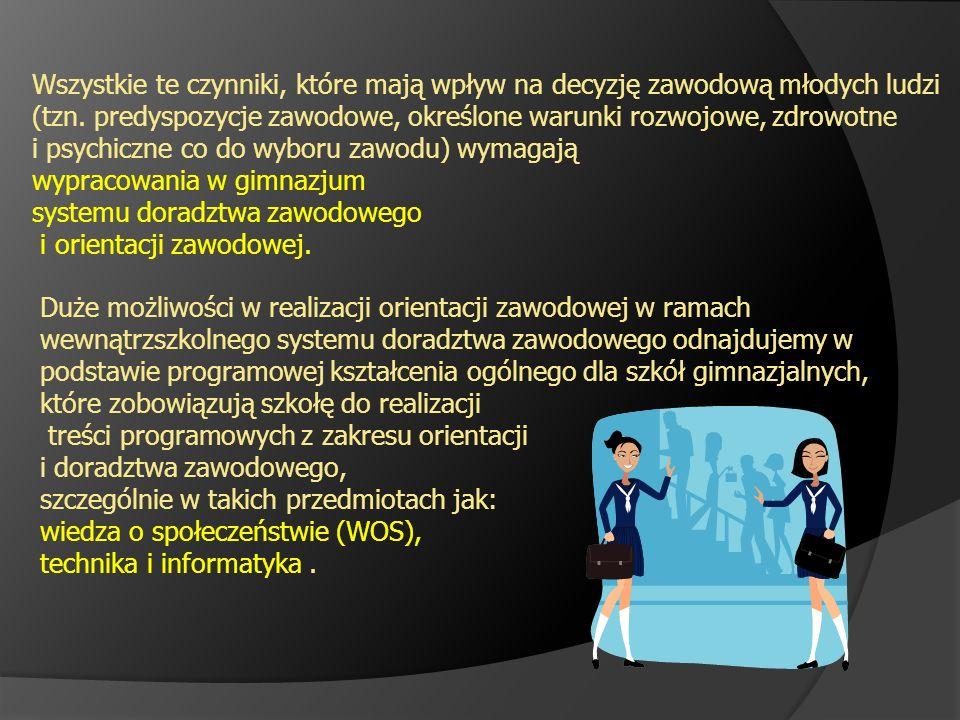 Wszystkie te czynniki, które mają wpływ na decyzję zawodową młodych ludzi (tzn. predyspozycje zawodowe, określone warunki rozwojowe, zdrowotne i psych