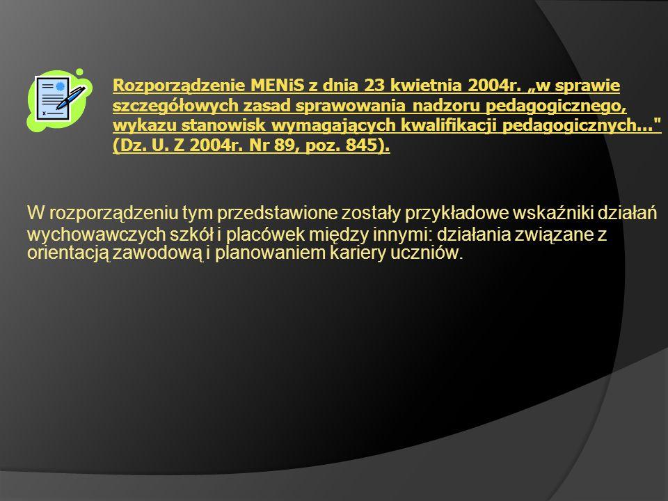 Rozporządzenie MENiS z dnia 23 kwietnia 2004r. w sprawie szczegółowych zasad sprawowania nadzoru pedagogicznego, wykazu stanowisk wymagających kwalifi