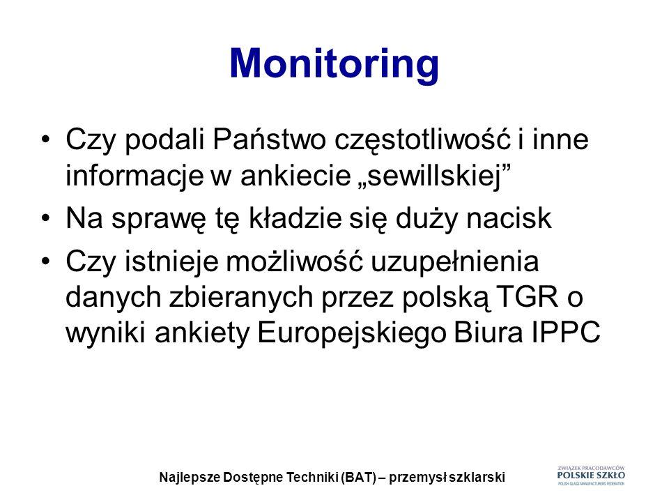 Najlepsze Dostępne Techniki (BAT) – przemysł szklarski Monitoring Czy podali Państwo częstotliwość i inne informacje w ankiecie sewillskiej Na sprawę