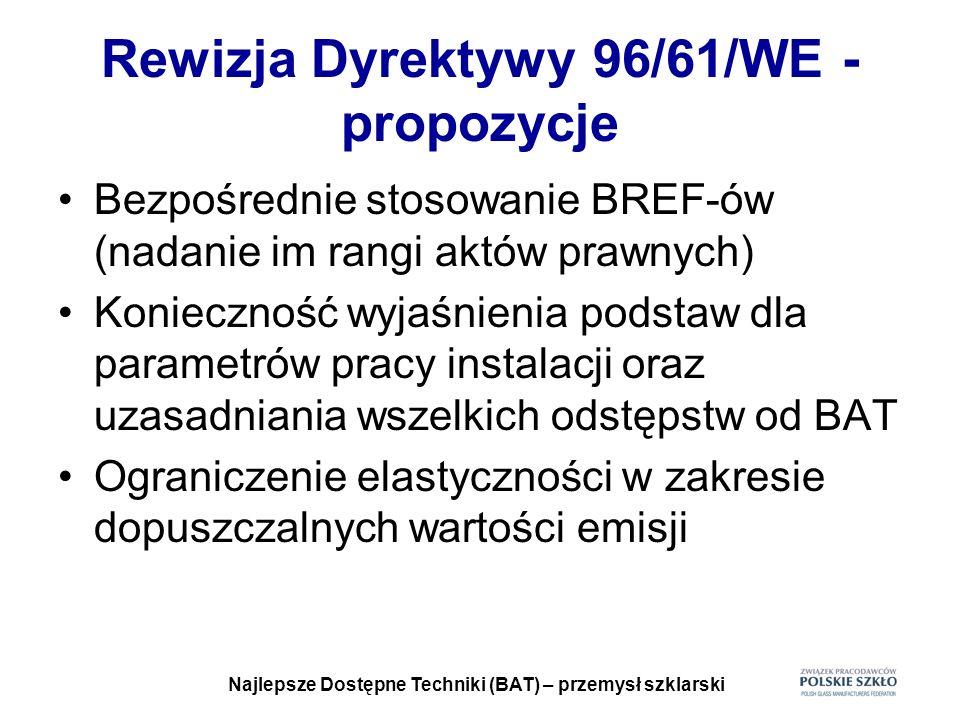 Najlepsze Dostępne Techniki (BAT) – przemysł szklarski Rewizja Dyrektywy 96/61/WE - propozycje Bezpośrednie stosowanie BREF-ów (nadanie im rangi aktów