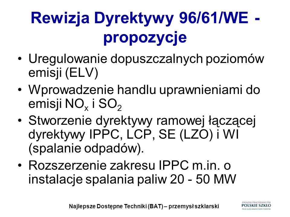 Najlepsze Dostępne Techniki (BAT) – przemysł szklarski Rewizja Dyrektywy 96/61/WE - propozycje Uregulowanie dopuszczalnych poziomów emisji (ELV) Wprow