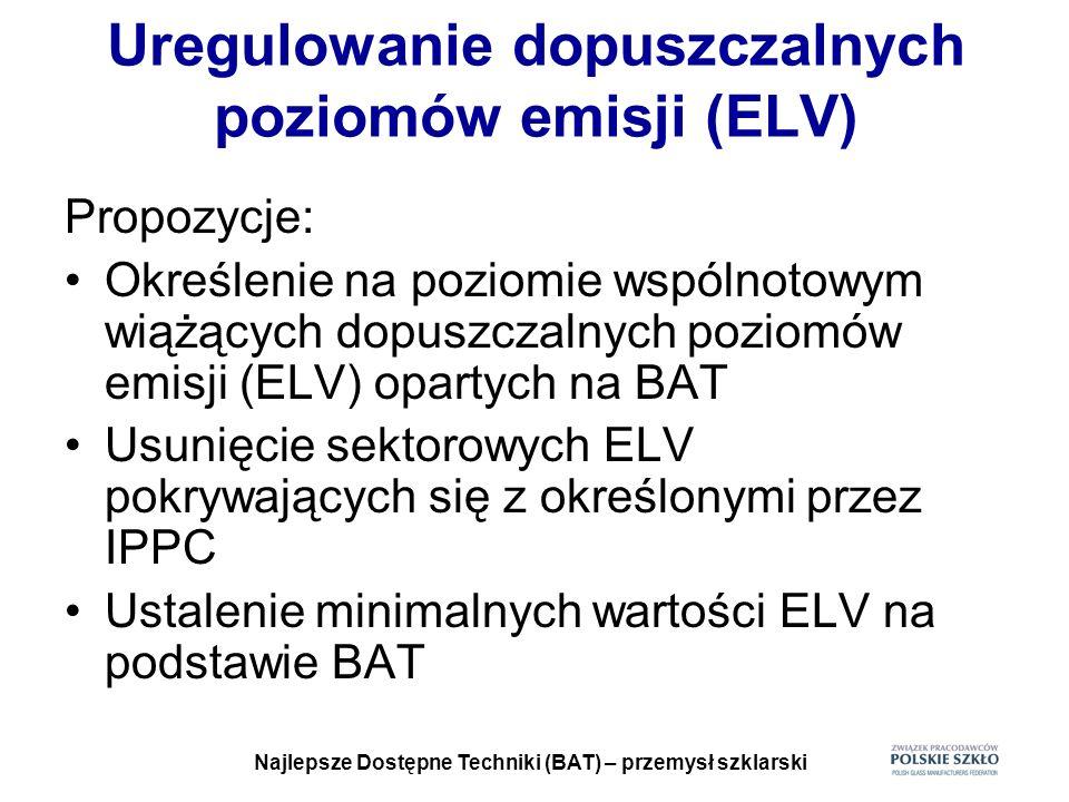 Najlepsze Dostępne Techniki (BAT) – przemysł szklarski Uregulowanie dopuszczalnych poziomów emisji (ELV) Propozycje: Określenie na poziomie wspólnotow