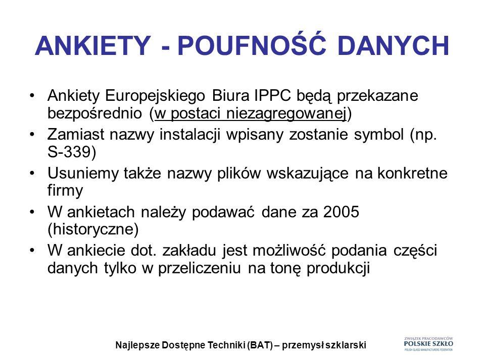 Najlepsze Dostępne Techniki (BAT) – przemysł szklarski POUFNOŚĆ DANYCH Jeśli nie zgadzają się Państwo na przesłanie ankiet w takiej formie w jakiej je otrzymaliśmy do Europejskiego Biura IPPC musimy otrzymać taką informację do końca czerwca.