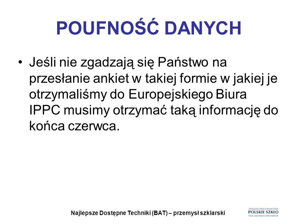 Najlepsze Dostępne Techniki (BAT) – przemysł szklarski ZEBRANE ANKIETY Czekamy na pozostałe ankiety Są one niezbędne, aby polskie życzenia mogły być uwzględnione.