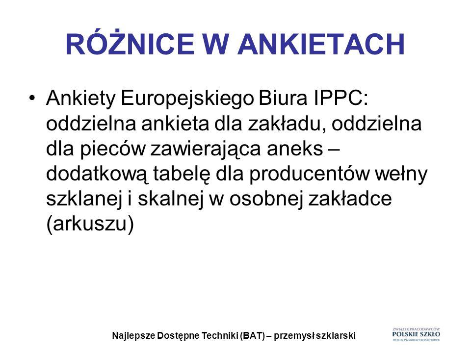 Najlepsze Dostępne Techniki (BAT) – przemysł szklarski RÓŻNICE W ANKIETACH Ankiety Europejskiego Biura IPPC: oddzielna ankieta dla zakładu, oddzielna