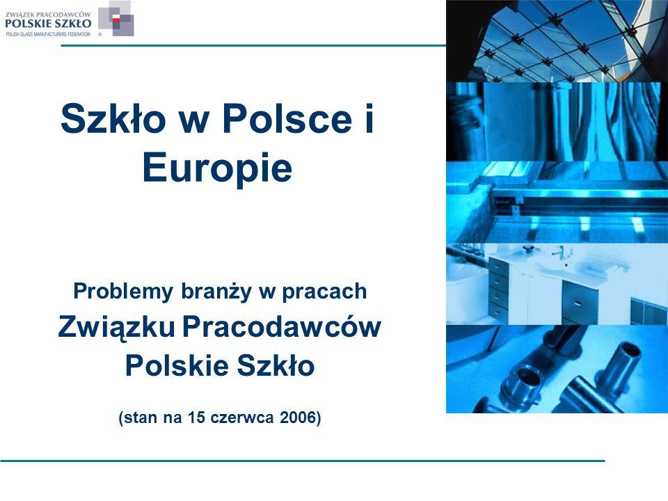 Szkło w Polsce i Europie Problemy branży w pracach Związku Pracodawców Polskie Szkło (stan na 15 czerwca 2006)