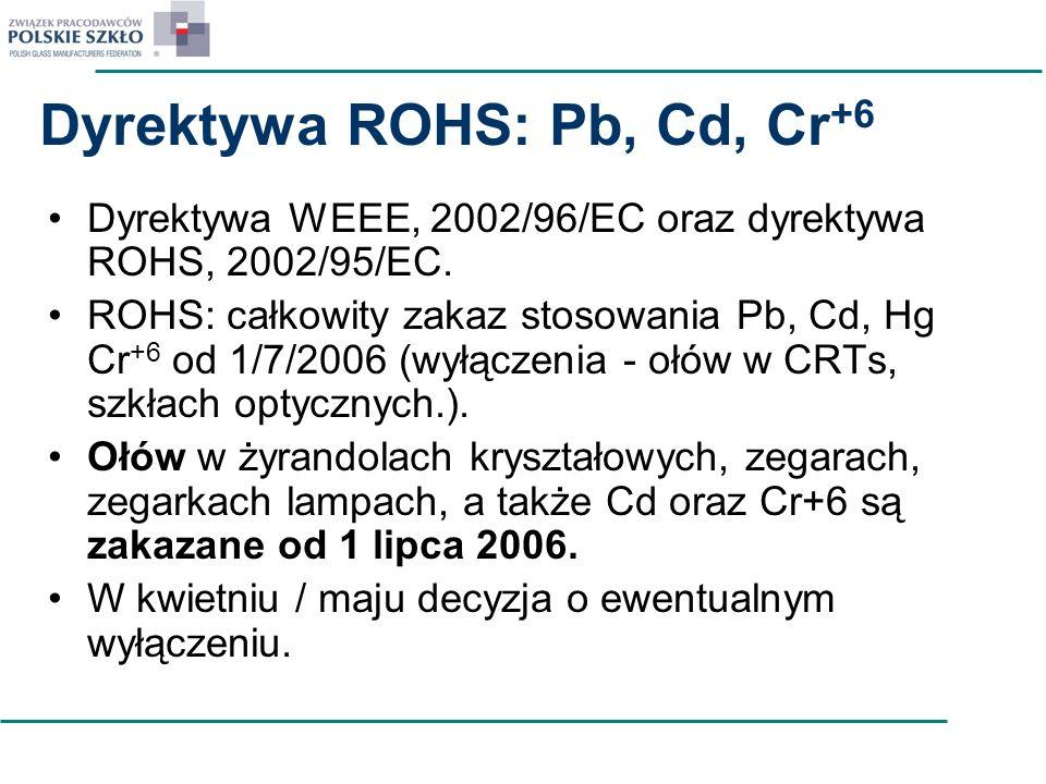 Dyrektywa ROHS: Pb, Cd, Cr +6 Dyrektywa WEEE, 2002/96/EC oraz dyrektywa ROHS, 2002/95/EC. ROHS: całkowity zakaz stosowania Pb, Cd, Hg Cr +6 od 1/7/200