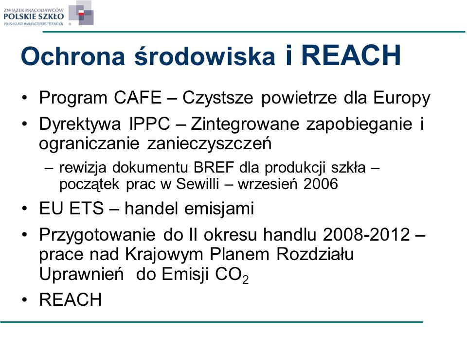 Ochrona środowiska i REACH Program CAFE – Czystsze powietrze dla Europy Dyrektywa IPPC – Zintegrowane zapobieganie i ograniczanie zanieczyszczeń –rewi