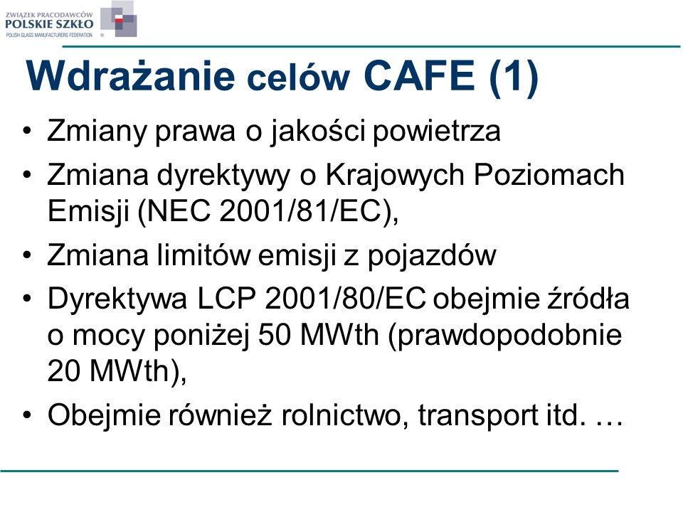 Wdrażanie celów CAFE (1) Zmiany prawa o jakości powietrza Zmiana dyrektywy o Krajowych Poziomach Emisji (NEC 2001/81/EC), Zmiana limitów emisji z poja