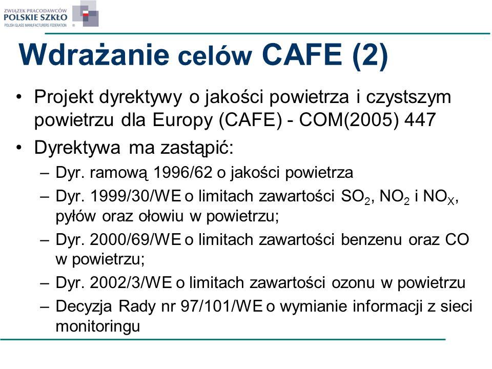 Wdrażanie celów CAFE (2) Projekt dyrektywy o jakości powietrza i czystszym powietrzu dla Europy (CAFE) - COM(2005) 447 Dyrektywa ma zastąpić: –Dyr. ra