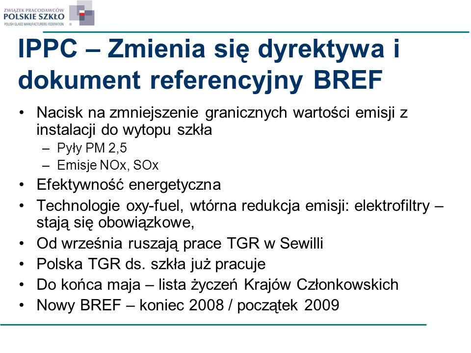 IPPC – Zmienia się dyrektywa i dokument referencyjny BREF Nacisk na zmniejszenie granicznych wartości emisji z instalacji do wytopu szkła –Pyły PM 2,5