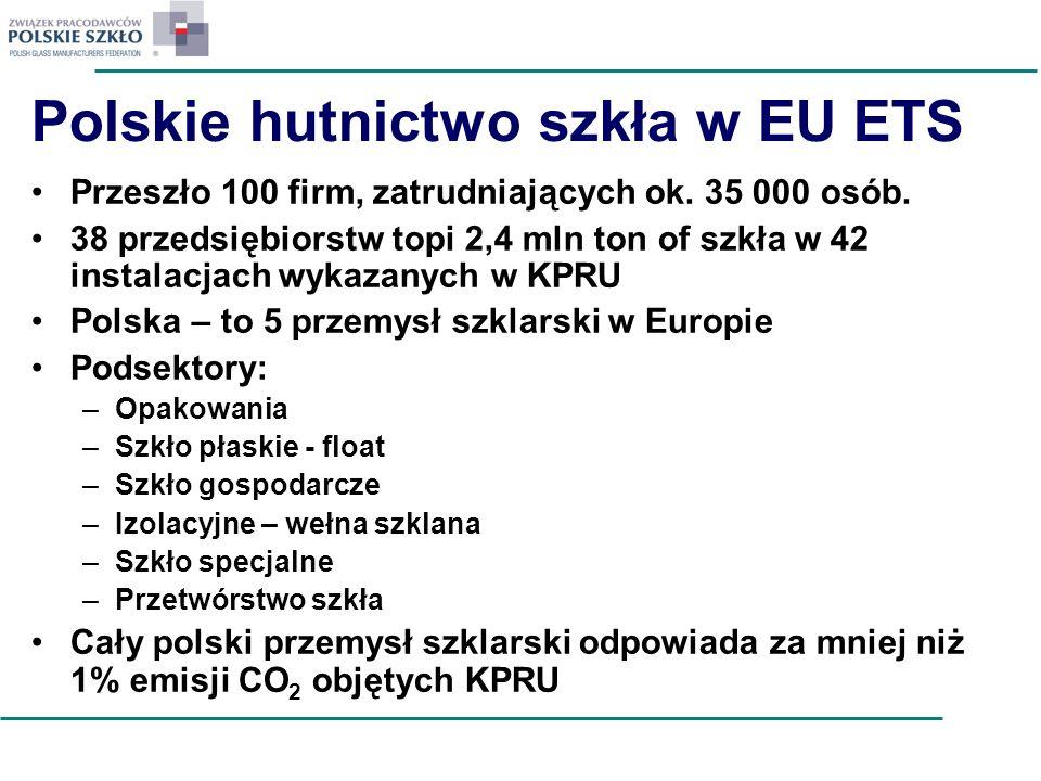 Polskie hutnictwo szkła w EU ETS Przeszło 100 firm, zatrudniających ok. 35 000 osób. 38 przedsiębiorstw topi 2,4 mln ton of szkła w 42 instalacjach wy