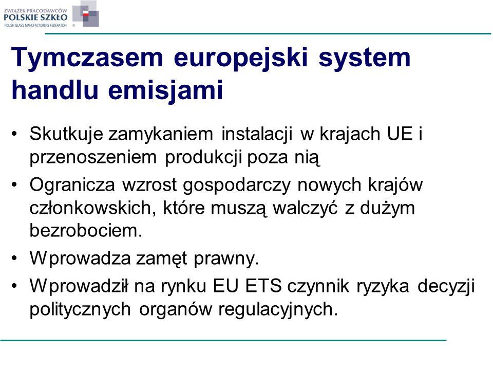 Tymczasem europejski system handlu emisjami Skutkuje zamykaniem instalacji w krajach UE i przenoszeniem produkcji poza nią Ogranicza wzrost gospodarcz