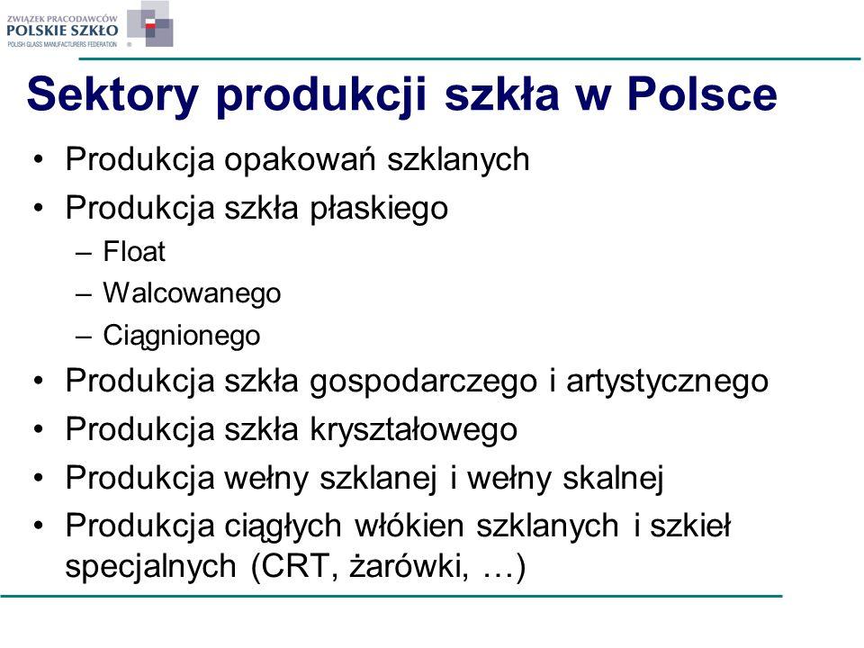 Sektory produkcji szkła w Polsce Produkcja opakowań szklanych Produkcja szkła płaskiego –Float –Walcowanego –Ciągnionego Produkcja szkła gospodarczego