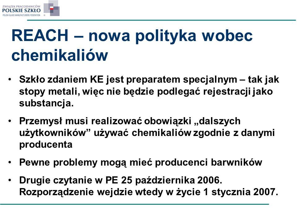 REACH – nowa polityka wobec chemikaliów Szkło zdaniem KE jest preparatem specjalnym – tak jak stopy metali, więc nie będzie podlegać rejestracji jako