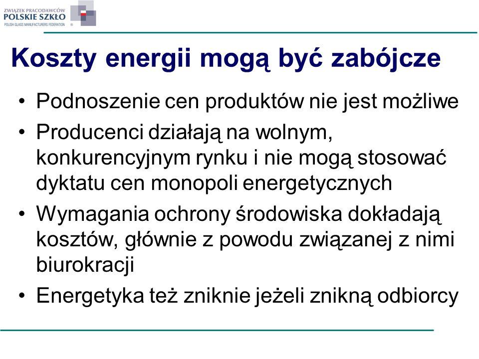 Koszty energii mogą być zabójcze Podnoszenie cen produktów nie jest możliwe Producenci działają na wolnym, konkurencyjnym rynku i nie mogą stosować dy