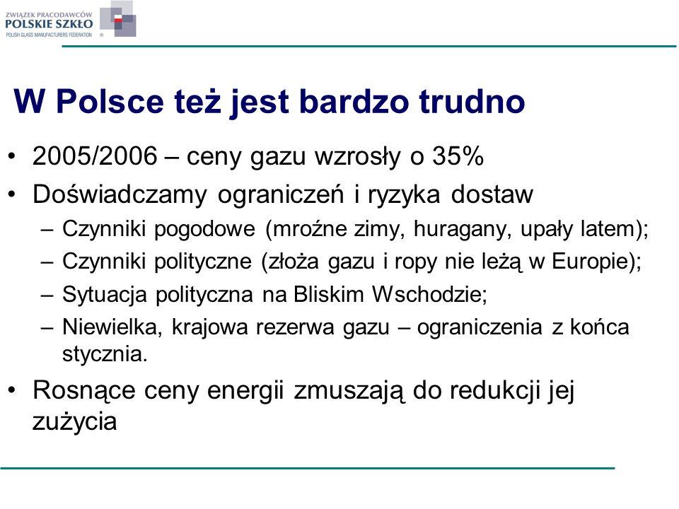 W Polsce też jest bardzo trudno 2005/2006 – ceny gazu wzrosły o 35% Doświadczamy ograniczeń i ryzyka dostaw –Czynniki pogodowe (mroźne zimy, huragany,
