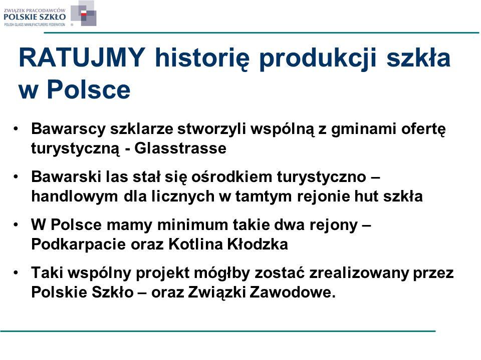 RATUJMY historię produkcji szkła w Polsce Bawarscy szklarze stworzyli wspólną z gminami ofertę turystyczną - Glasstrasse Bawarski las stał się ośrodki
