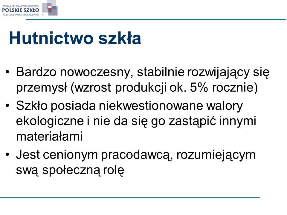IPPC – Zmienia się dyrektywa i dokument referencyjny BREF Nacisk na zmniejszenie granicznych wartości emisji z instalacji do wytopu szkła –Pyły PM 2,5 –Emisje NOx, SOx Efektywność energetyczna Technologie oxy-fuel, wtórna redukcja emisji: elektrofiltry – stają się obowiązkowe, Od września ruszają prace TGR w Sewilli Polska TGR ds.