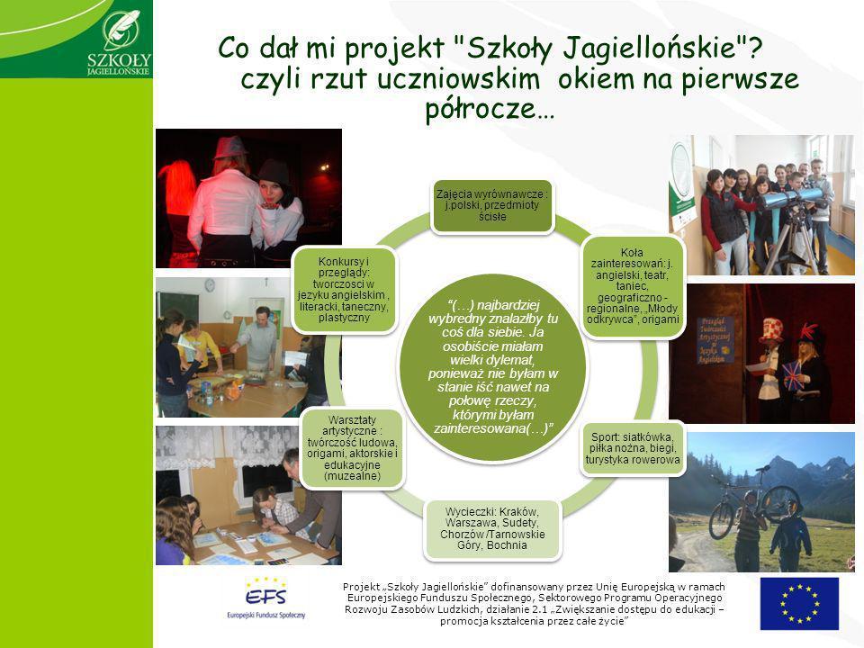 Projekt Szkoły Jagiellońskie dofinansowany przez Unię Europejską w ramach Europejskiego Funduszu Społecznego, Sektorowego Programu Operacyjnego Rozwoju Zasobów Ludzkich, działanie 2.1 Zwiększanie dostępu do edukacji – promocja kształcenia przez całe życie Co dał mi projekt Szkoły Jagiellońskie .