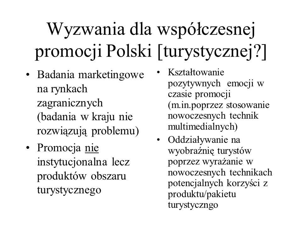 Wyzwania dla współczesnej promocji Polski [turystycznej?] Badania marketingowe na rynkach zagranicznych (badania w kraju nie rozwiązują problemu) Prom