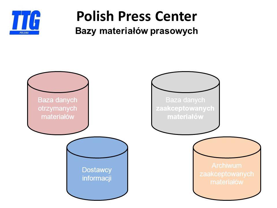 Polish Press Center Bazy materiałów prasowych Baza danych otrzymanych materiałów Baza danych zaakceptowanych materiałów Dostawcy informacji Archiwum zaakceptowanych materiałów
