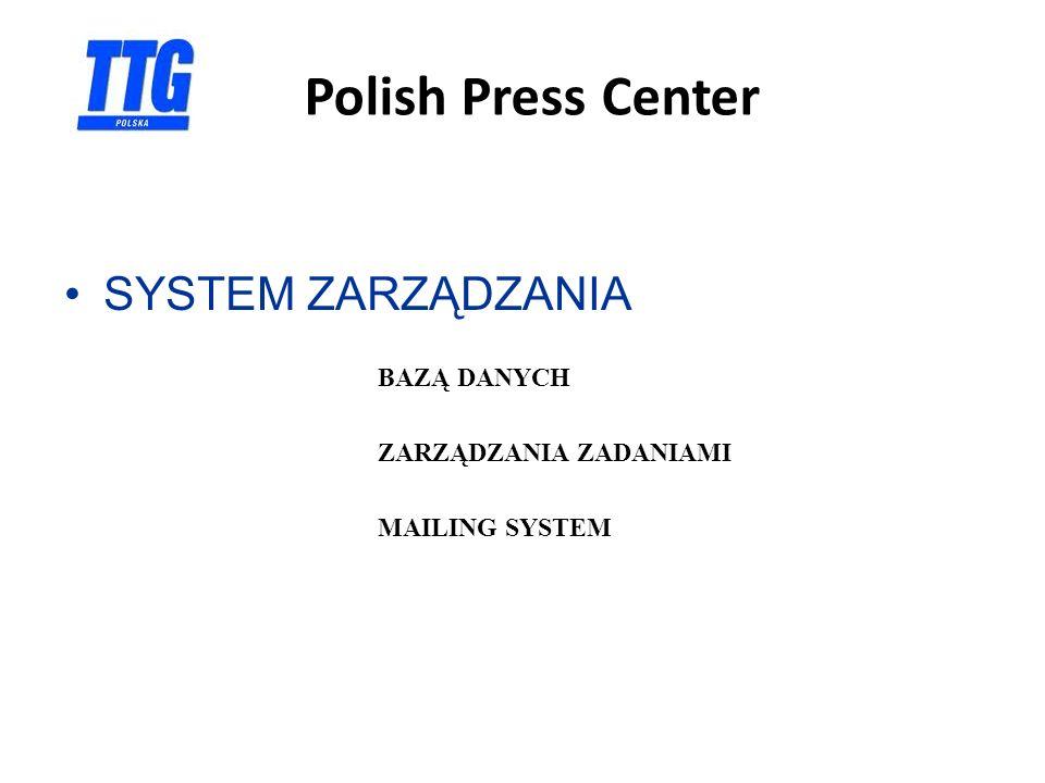 Polish Press Center SYSTEM ZARZĄDZANIA BAZĄ DANYCH ZARZĄDZANIA ZADANIAMI MAILING SYSTEM