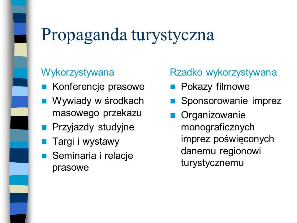 Propaganda turystyczna – formy niewykorzystywane w Polsce Indywidualizacja oferty dla określonego profilu odbiorcy Stymulowanie decyzji nabywczych poprzez propagowanie funkcji produktów, doświadczeń turystów (zamiast samych atrakcji) Indywidualizacja form propagandy na rynkach nie opanowanych Propaganda poprzez wspólne przedsięwzięcia międzynarodowe dwustronne z krajem generującym popyt