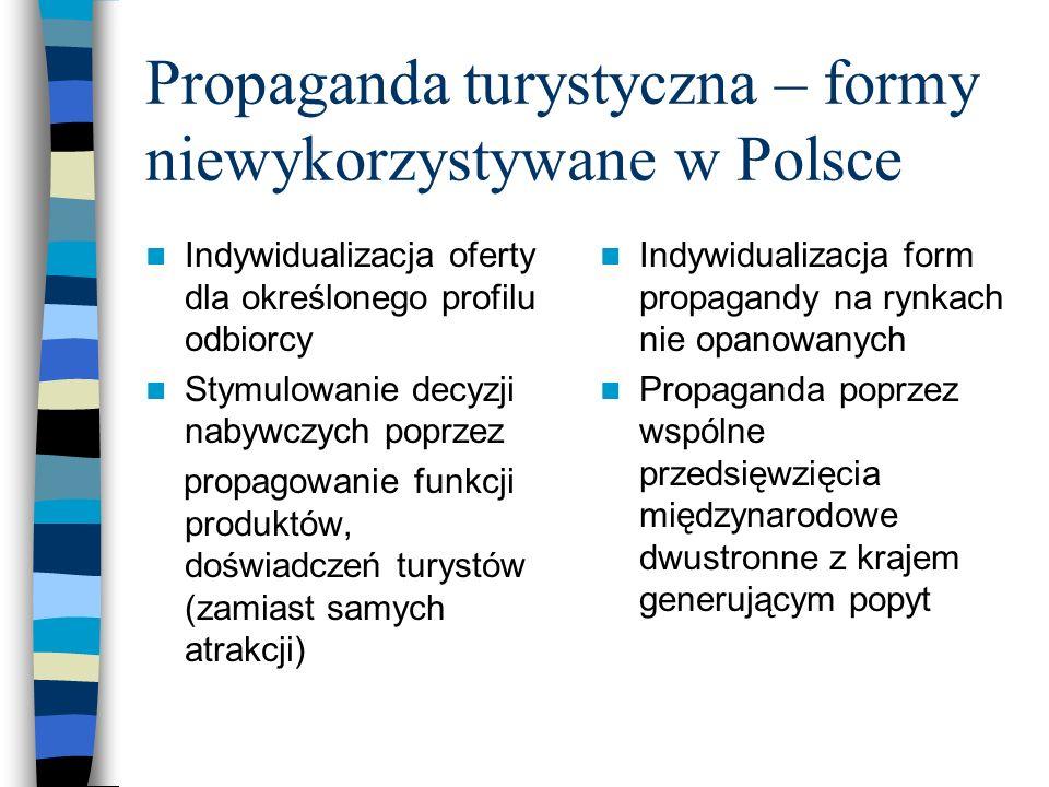 Wyzwania dla współczesnej promocji Polski [turystycznej?] Badania marketingowe na rynkach zagranicznych (badania w kraju nie rozwiązują problemu) Promocja nie instytucjonalna lecz produktów obszaru turystycznego Kształtowanie pozytywnych emocji w czasie promocji (m.in.poprzez stosowanie nowoczesnych technik multimedialnych) Oddziaływanie na wyobraźnię turystów poprzez wyrażanie w nowoczesnych technikach potencjalnych korzyści z pakietu turystycznego