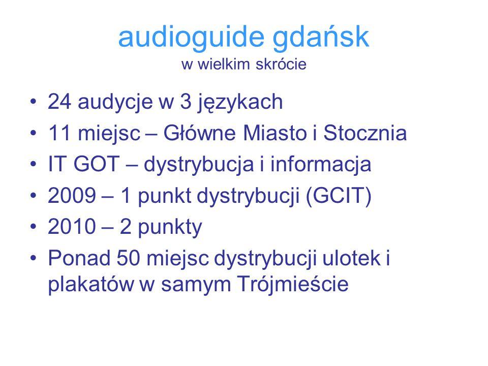 audioguide gdańsk w wielkim skrócie 24 audycje w 3 językach 11 miejsc – Główne Miasto i Stocznia IT GOT – dystrybucja i informacja 2009 – 1 punkt dyst