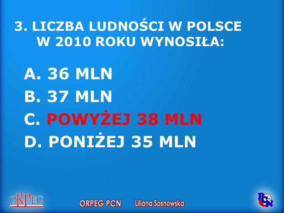 2.POWIERZCHNIA POLSKI WYNOSI : A. OK. 313 TYS. KM 2 B.