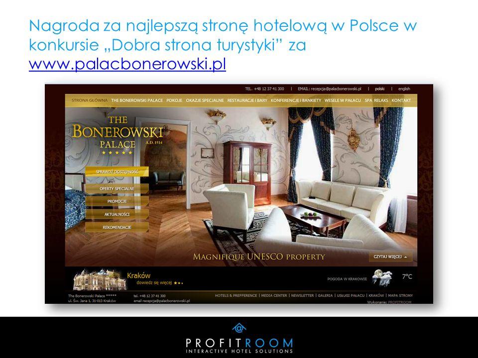Nagroda za najlepszą stronę hotelową w Polsce w konkursie Dobra strona turystyki za www.palacbonerowski.pl www.palacbonerowski.pl