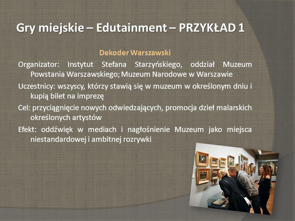 Gry miejskie – Edutainment – PRZYKŁAD 1 Dekoder Warszawski Organizator: Instytut Stefana Starzyńskiego, oddział Muzeum Powstania Warszawskiego; Muzeum