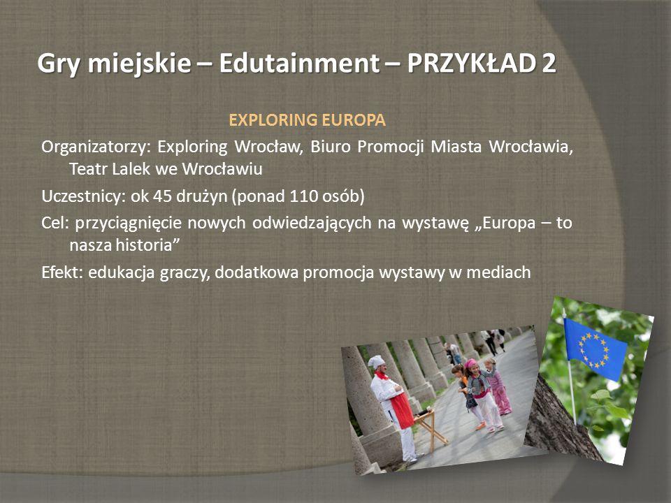 Gry miejskie – Edutainment – PRZYKŁAD 2 EXPLORING EUROPA Organizatorzy: Exploring Wrocław, Biuro Promocji Miasta Wrocławia, Teatr Lalek we Wrocławiu U