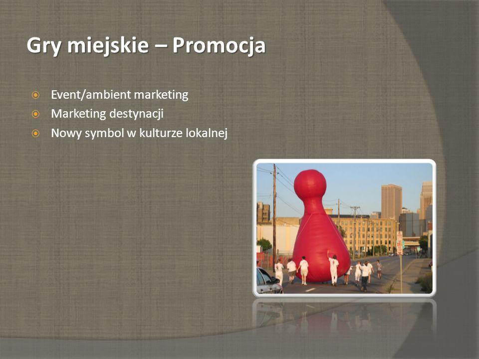 Gry miejskie – Promocja Event/ambient marketing Marketing destynacji Nowy symbol w kulturze lokalnej