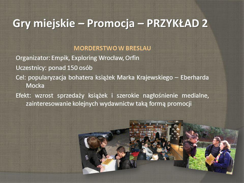Gry miejskie – Promocja – PRZYKŁAD 2 MORDERSTWO W BRESLAU Organizator: Empik, Exploring Wrocław, Orfin Uczestnicy: ponad 150 osób Cel: popularyzacja b