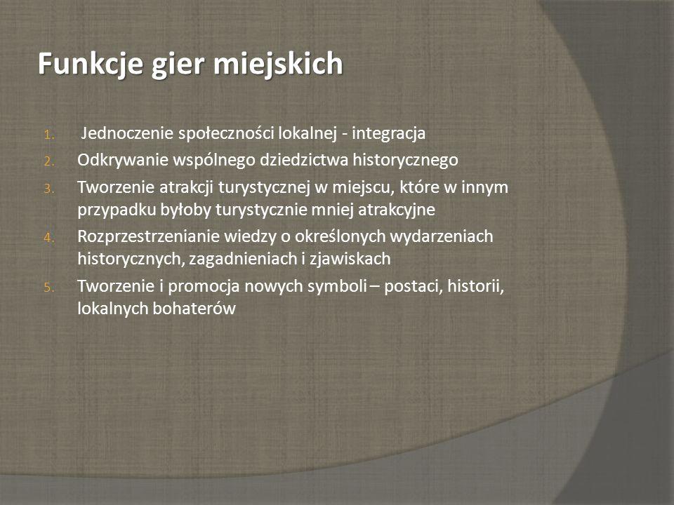 Funkcje gier miejskich 1. Jednoczenie społeczności lokalnej - integracja 2. Odkrywanie wspólnego dziedzictwa historycznego 3. Tworzenie atrakcji turys
