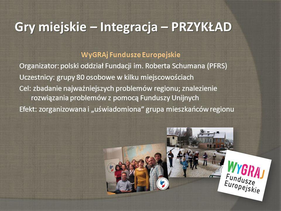 Gry miejskie – Integracja – PRZYKŁAD WyGRAj Fundusze Europejskie Organizator: polski oddział Fundacji im. Roberta Schumana (PFRS) Uczestnicy: grupy 80