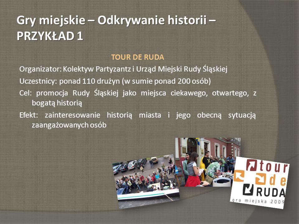 Gry miejskie – Odkrywanie historii – PRZYKŁAD 1 TOUR DE RUDA Organizator: Kolektyw Partyzantz i Urząd Miejski Rudy Śląskiej Uczestnicy: ponad 110 druż