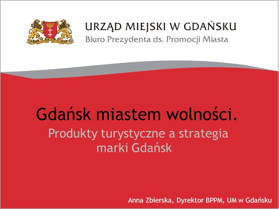 Gdańsk miastem wolności. Produkty turystyczne a strategia marki Gdańsk Anna Zbierska, Dyrektor BPPM, UM w Gdańsku
