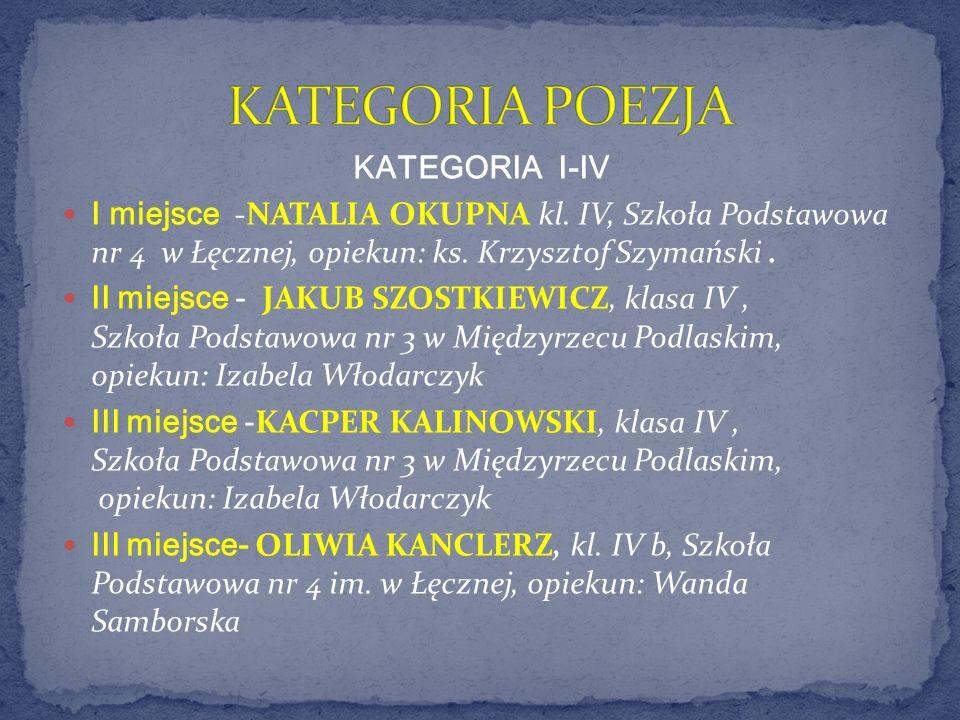 KATEGORIA I-IV I miejsce -NATALIA OKUPNA kl. IV, Szkoła Podstawowa nr 4 w Łęcznej, opiekun: ks. Krzysztof Szymański. II miejsce - JAKUB SZOSTKIEWICZ,