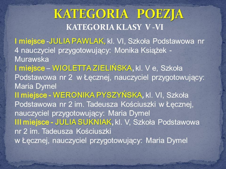 KATEGORIA KLASY V -VI JULIA PAWLAK, I miejsce -JULIA PAWLAK, kl. VI, Szkoła Podstawowa nr 4 nauczyciel przygotowujący: Monika Książek - Murawska WIOLE