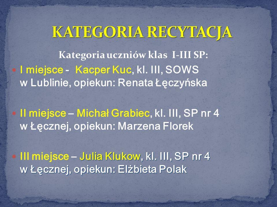 Kategoria uczniów klas I-III SP: I miejsce - Kacper Kuc, kl. III, SOWS w Lublinie, opiekun: Renata Łęczyńska II miejsce – Michał Grabiec, kl. III, SP