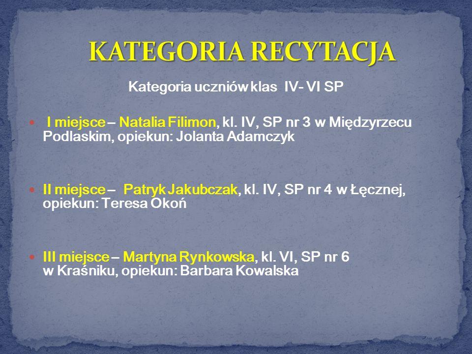 Kategoria uczniów klas IV- VI SP I miejsce – Natalia Filimon, kl. IV, SP nr 3 w Międzyrzecu Podlaskim, opiekun: Jolanta Adamczyk II miejsce – Patryk J