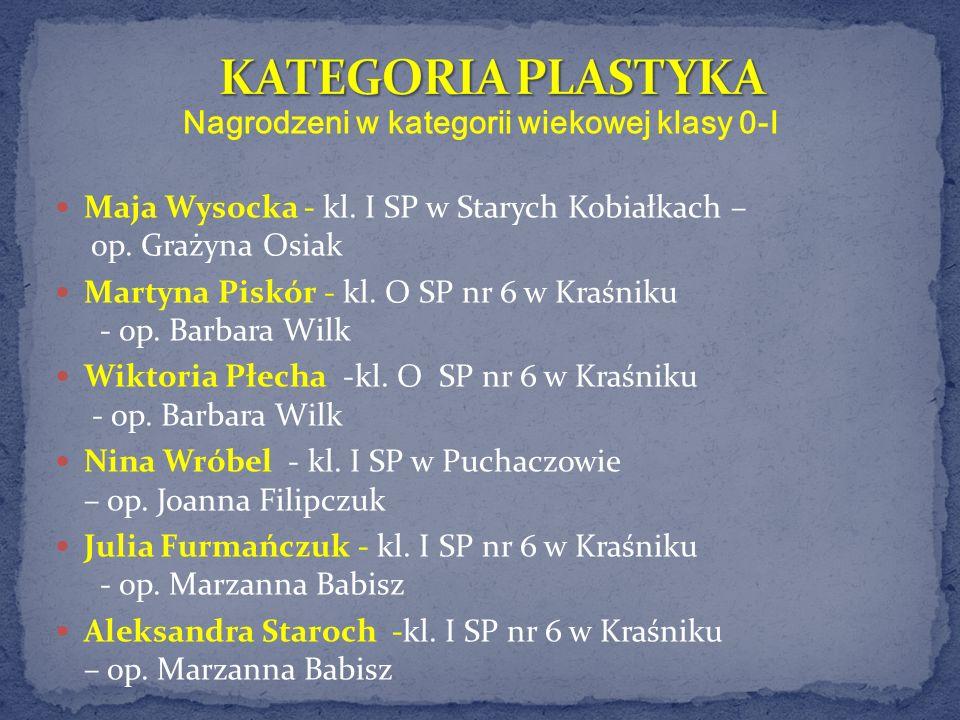 Nagrodzeni w kategorii wiekowej klasy 0-I Maja Wysocka - kl. I SP w Starych Kobiałkach – op. Grażyna Osiak Martyna Piskór -kl. O SP nr 6 w Kraśniku -