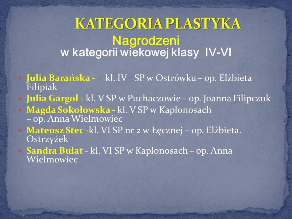 Nagrodzeni w kategorii wiekowej klasy IV-VI Julia Barańska - kl. IVSP w Ostrówku – op. Elżbieta Filipiak Julia Gargol - kl. V SP w Puchaczowie – op. J