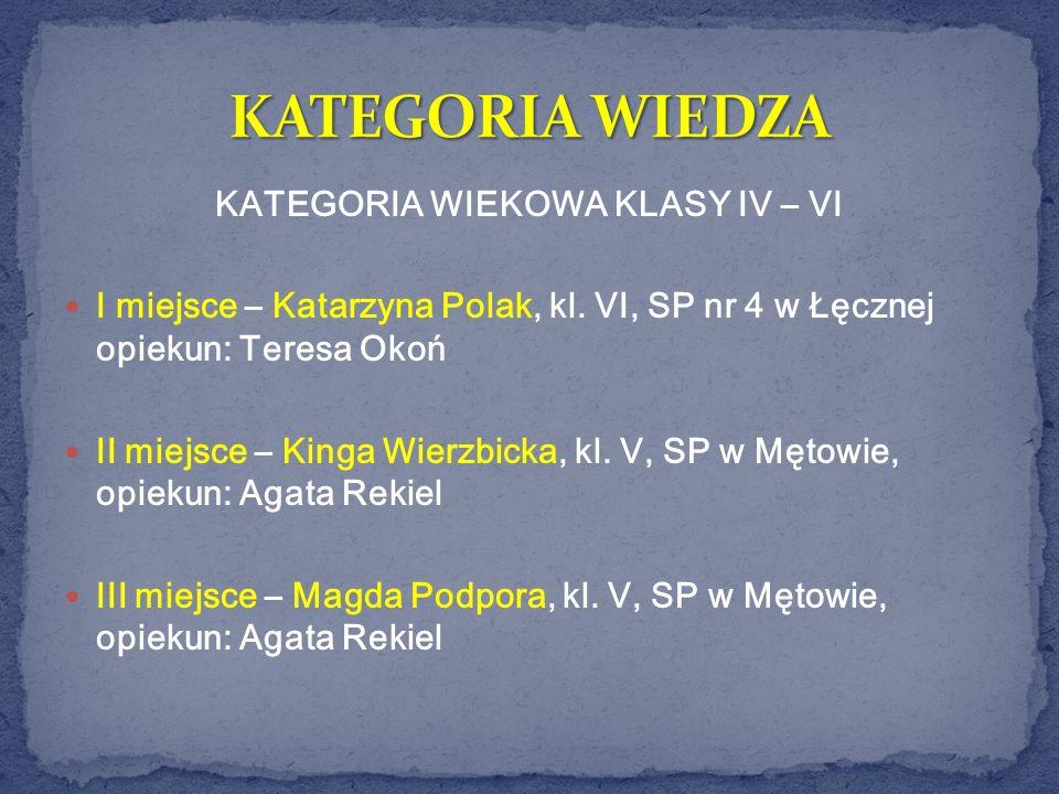 KATEGORIA WIEKOWA KLASY IV – VI I miejsce – Katarzyna Polak, kl. VI, SP nr 4 w Łęcznej opiekun: Teresa Okoń II miejsce – Kinga Wierzbicka, kl. V, SP w