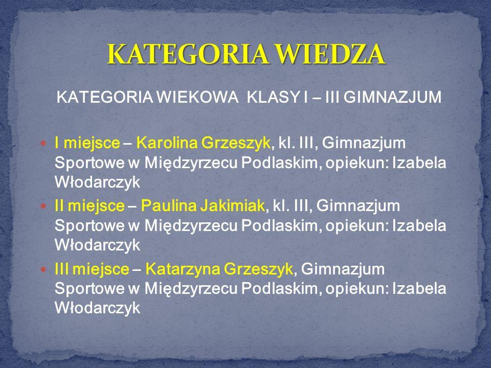 I miejsce – Karolina Grzeszyk, kl. III, Gimnazjum Sportowe w Międzyrzecu Podlaskim, opiekun: Izabela Włodarczyk II miejsce – Paulina Jakimiak, kl. III