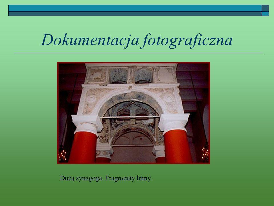 Dokumentacja fotograficzna Dużą synagoga. Fragmenty bimy.