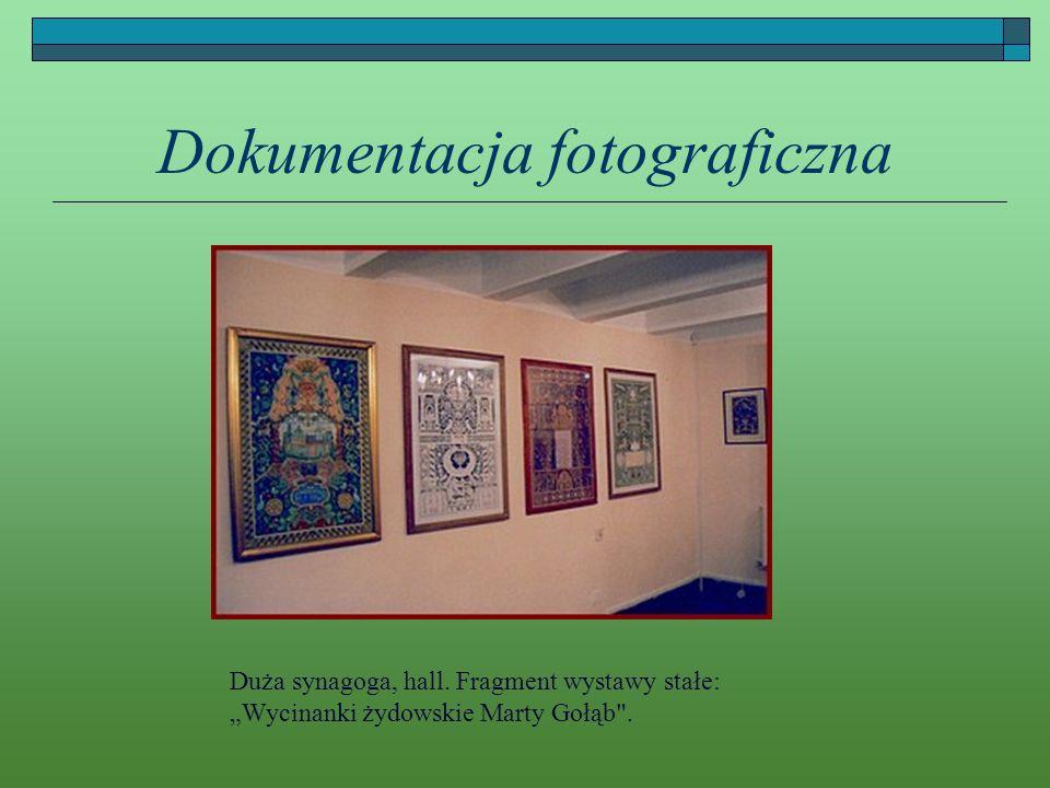 Dokumentacja fotograficzna Duża synagoga, hall. Fragment wystawy stałe: Wycinanki żydowskie Marty Gołąb